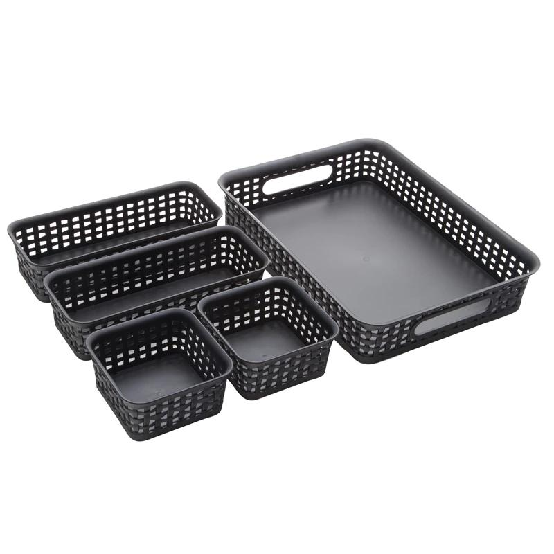 See Jane Work® 5 Pack Weave Bins - Black - see-jane-work