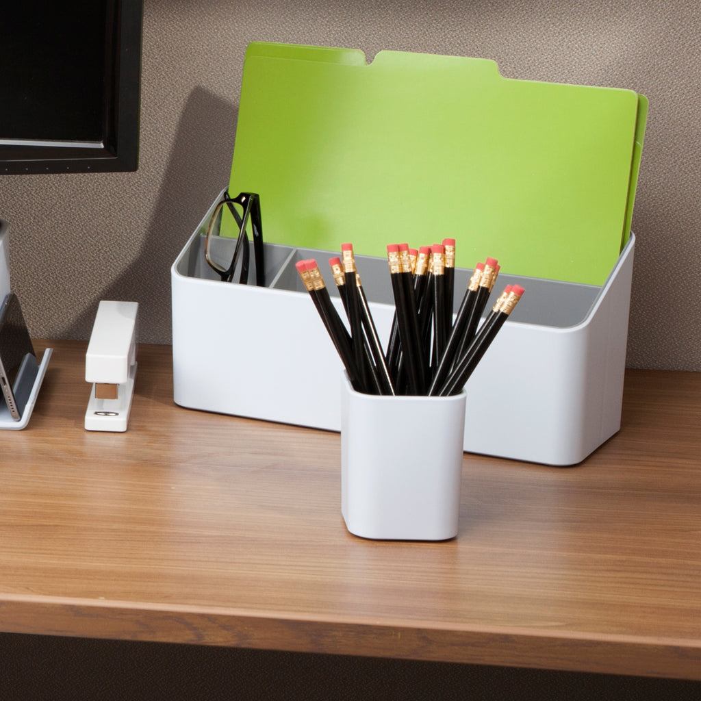 Fusion Pencil Cup - White and Gray - see-jane-work