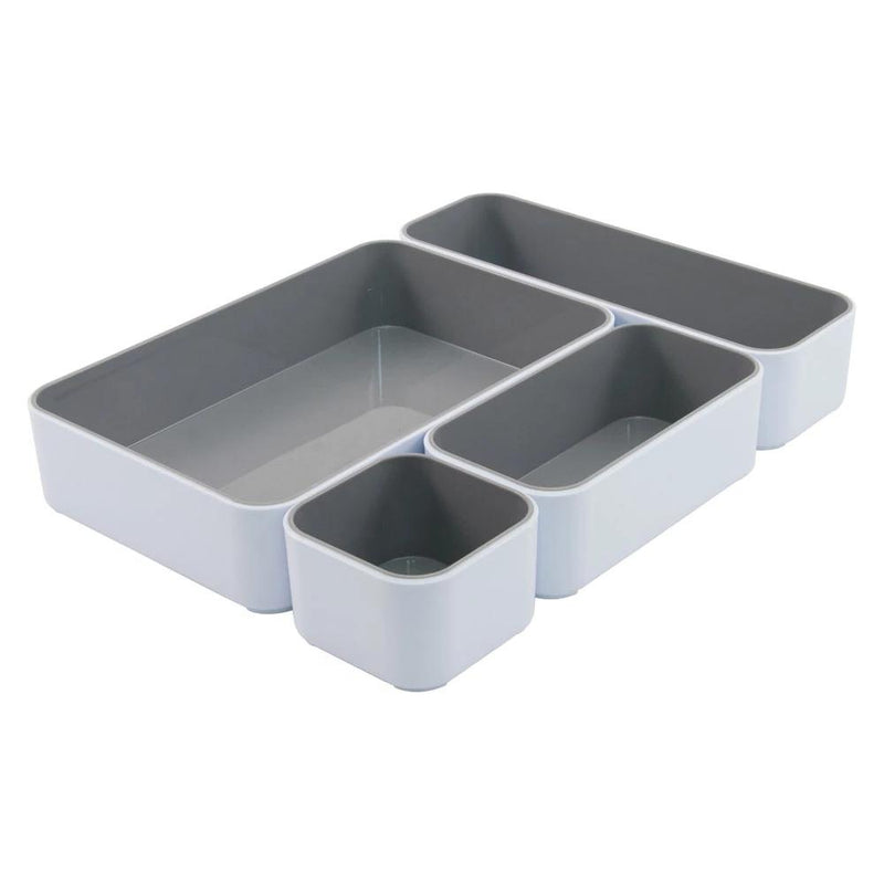 Fusion 4-Pack Bin Set - White and Gray - see-jane-work