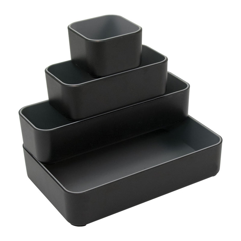 Fusion 4-Pack Bin Set - Black and Gray - see-jane-work