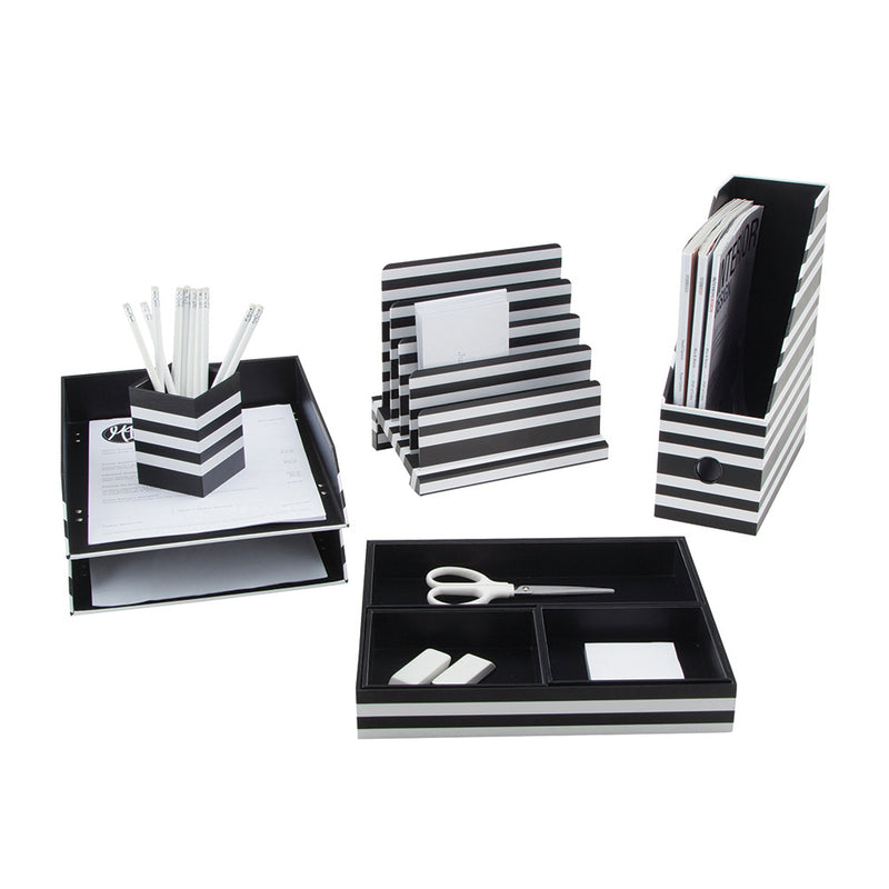 See Jane Work® Pencil Cup, Black & White Stripe - see-jane-work