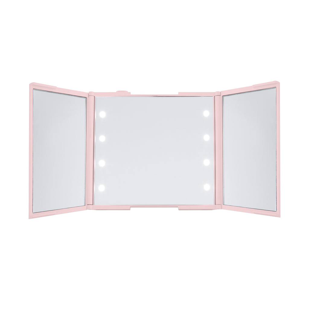 Thinkspace Trifold LED Makeup Mirror, Pink