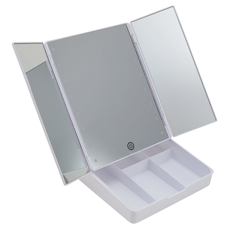 Thinkspace Trifold Collapsible LED Makeup Mirror & Organizer, White