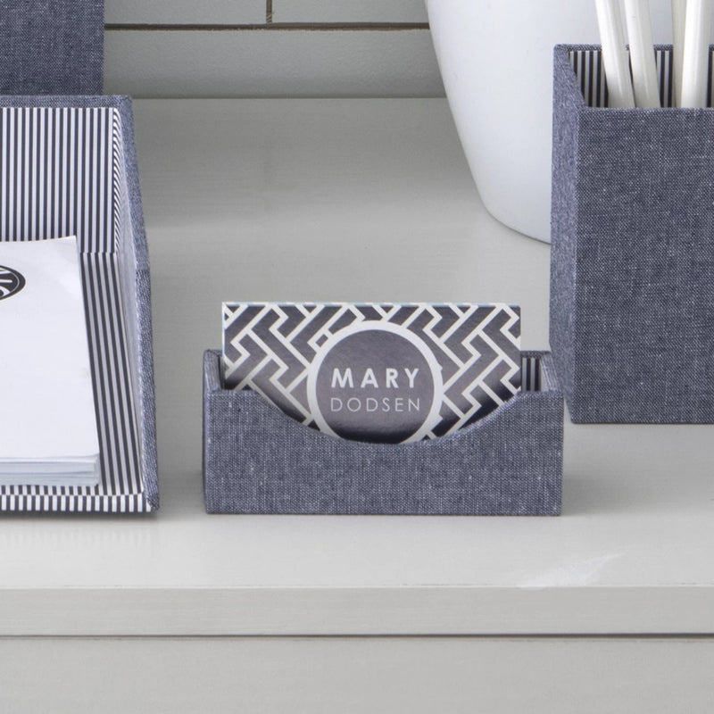 See Jane Work® Business Card Holder, Chambray - see-jane-work