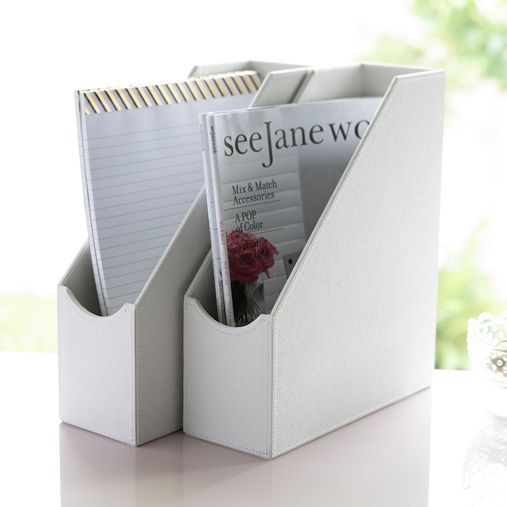 See Jane Work® Magazine File, White Faux Leather - see-jane-work