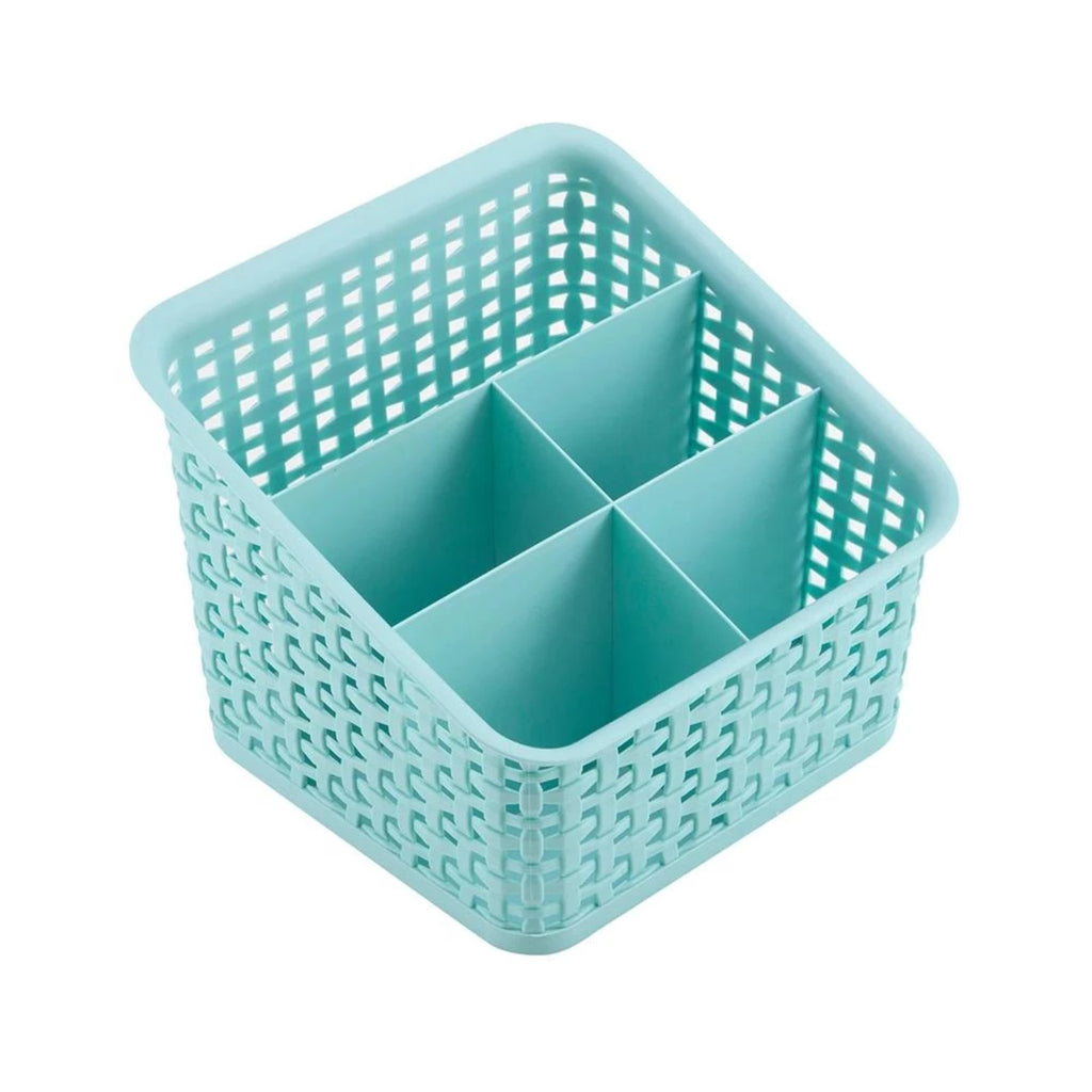 See Jane Work® 5 Compartment Weave Bin, Blue - see-jane-work