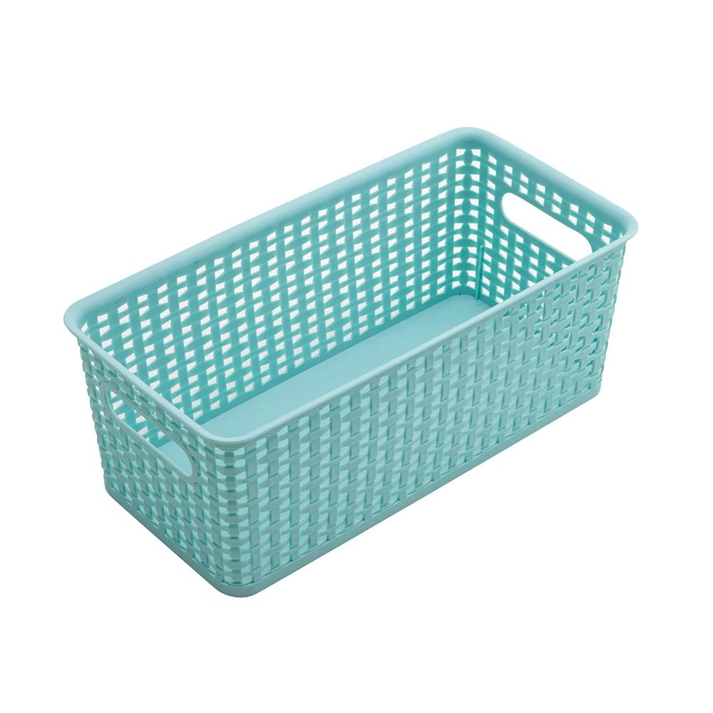 See Jane Work® Bookshelf Weave Bin, Blue - see-jane-work