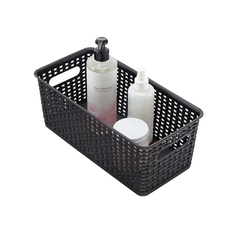 See Jane Work® Bookshelf Weave Bin, Black - see-jane-work