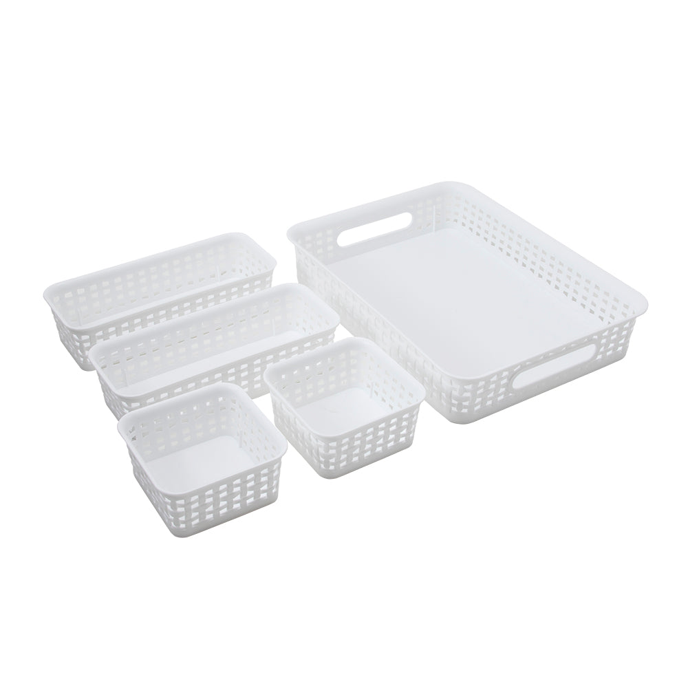 See Jane Work® Five Pack Weave Bins, White