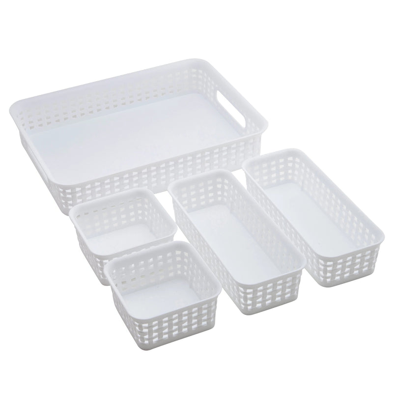 See Jane Work® 5 Pack Weave Bins, White - see-jane-work