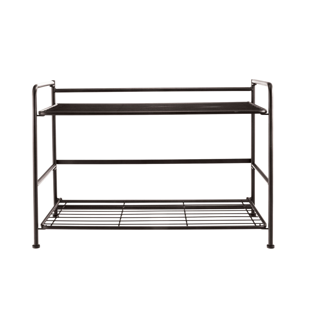 FlipShelf, 2 Wide, Black color. Picture showing front-facing view of shelf.