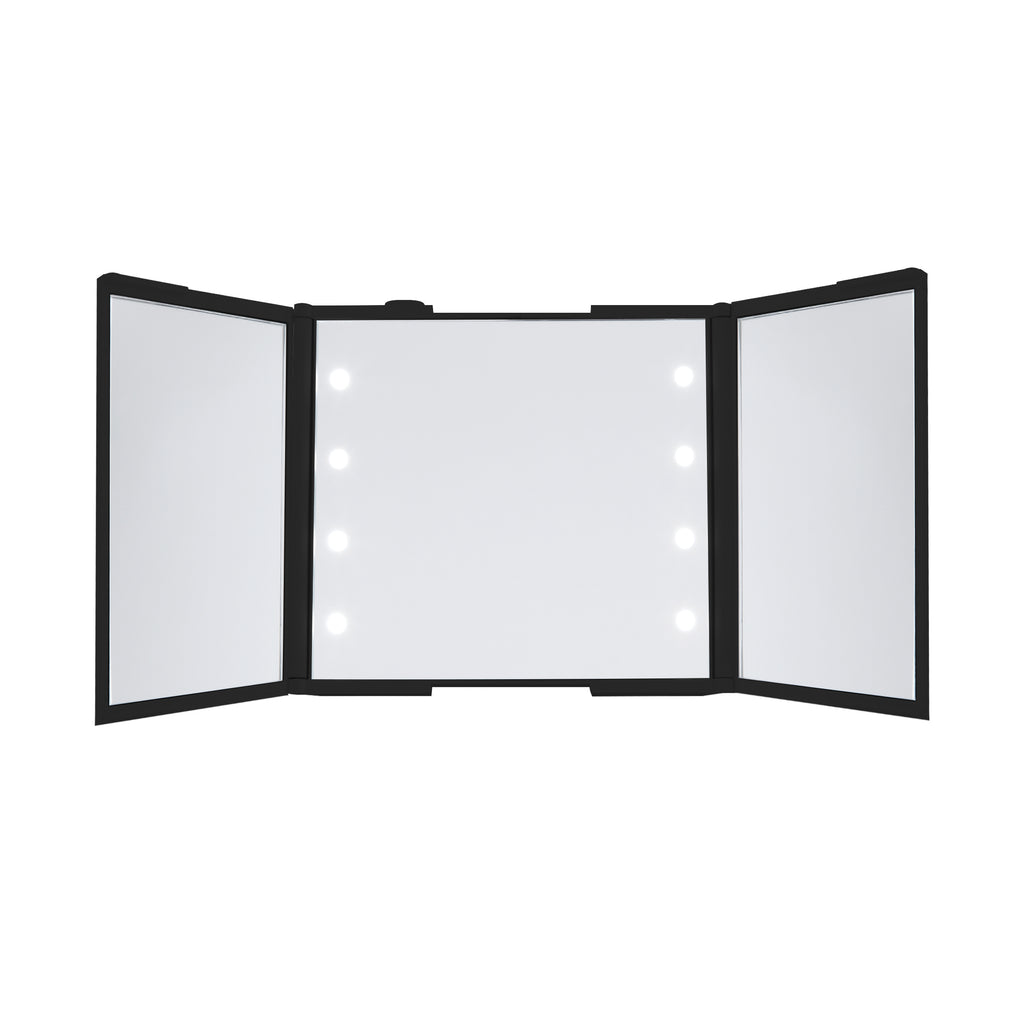 Thinkspace Trifold LED Makeup Mirror, Black