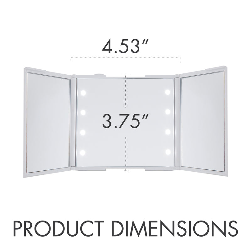 Thinkspace Trifold LED Makeup Mirror, White