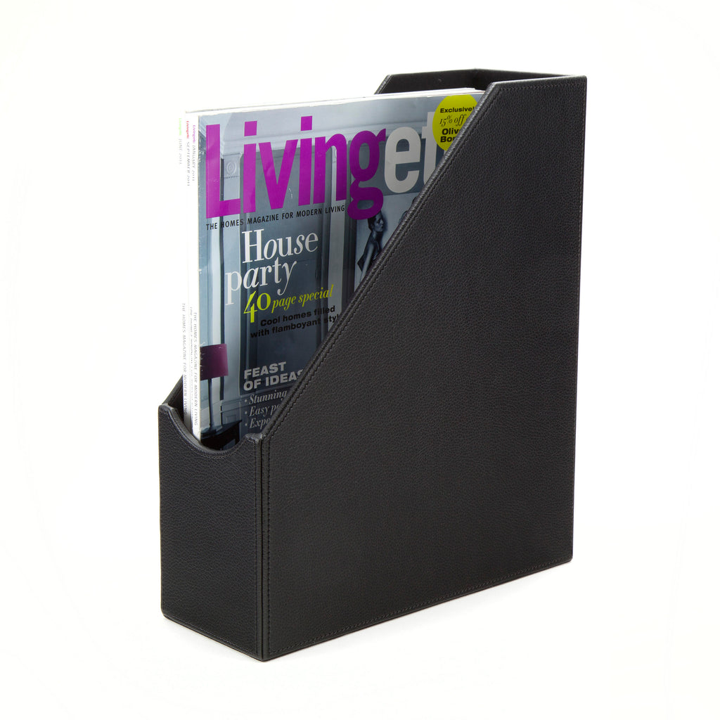 See Jane Work® Magazine File, Black Faux Leather - see-jane-work