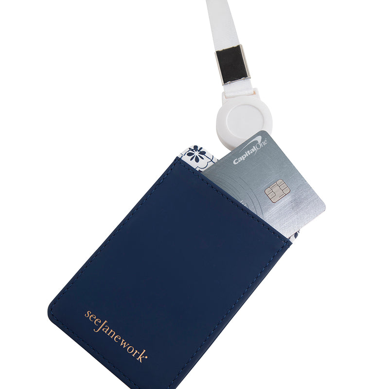 See Jane Work®  Badge Holder, Navy Geo