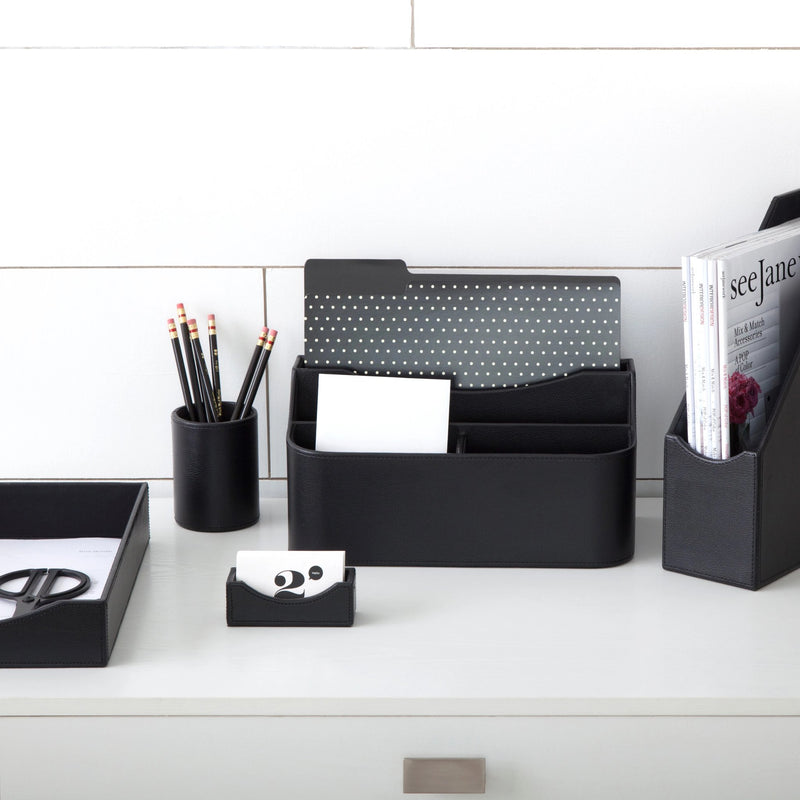 See Jane Work® Paper Tray, Black Faux Leather - see-jane-work