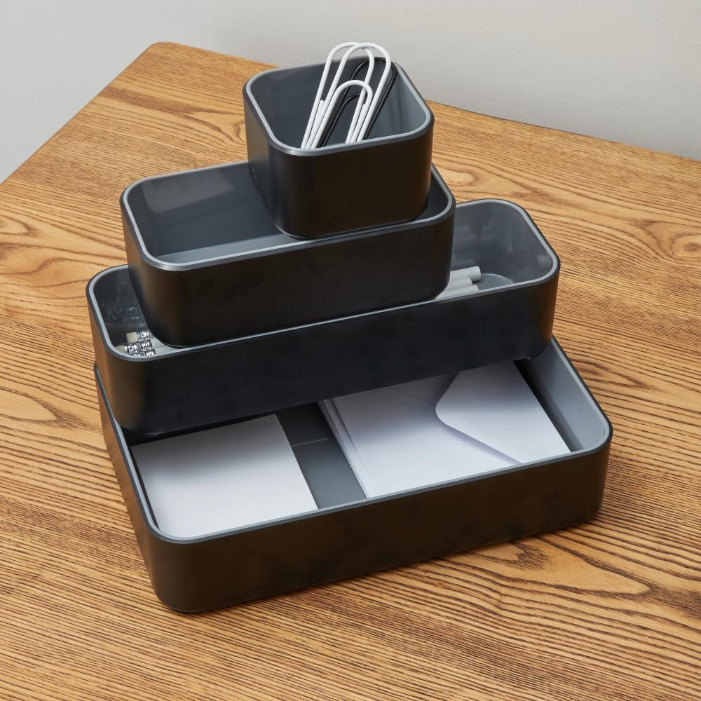 Fusion 4-Pack Bin Set - Black and Gray