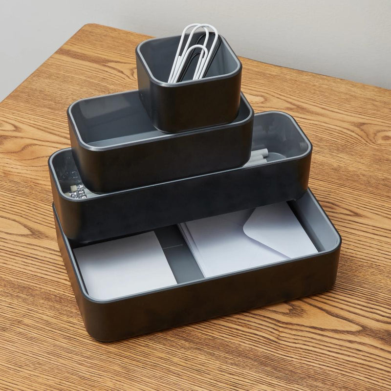 Fusion Four Pack Bin Set - Black and Gray