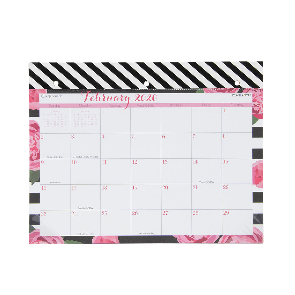 See Jane Work® Stripes in Bloom Mini Monthly Desk Pad Calendar