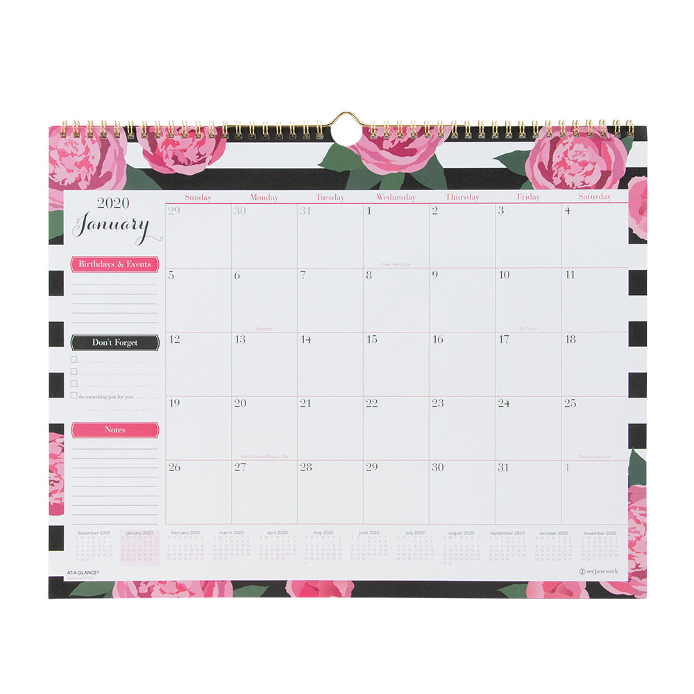 See Jane Work® Stripes In Bloom Monthly Wall Calendar