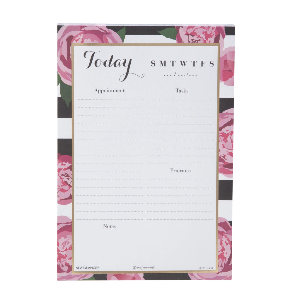 See Jane Work® Stripes in Bloom Daily Desk Notepad