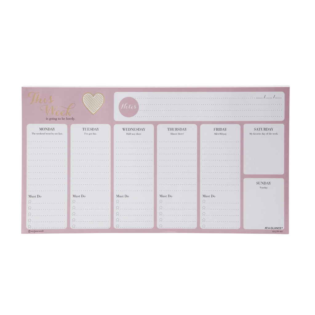See Jane Work® Heart of Gold Weekly Desk Notepad
