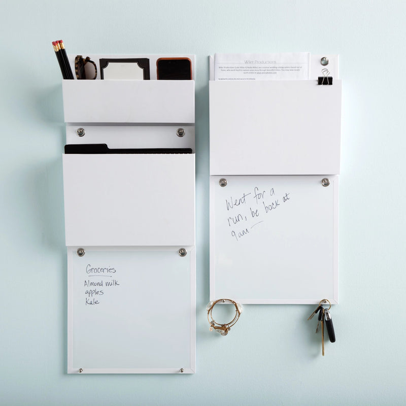 See Jane Work® Wall File, White, holding phone, sunglasses, notebook, and pencils