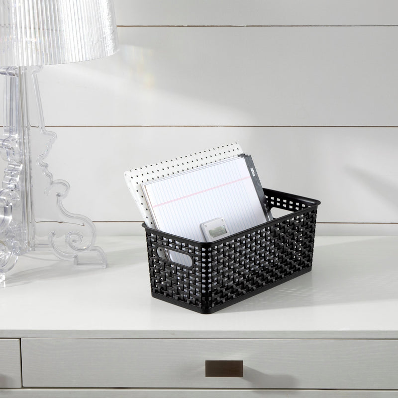 See Jane Work® Narrow Weave Storage Bin, Black