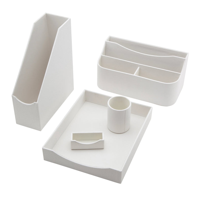See Jane Work® Letter Tray, White Faux Leather - see-jane-work