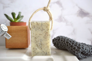 ginger and mandarin handmade vegan natural soap on a rope