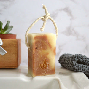 black pepper ginger handmade vegan natural soap on a rope