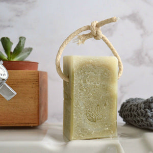 Tea tree and spirulina handmade vegan natural soap on a rope