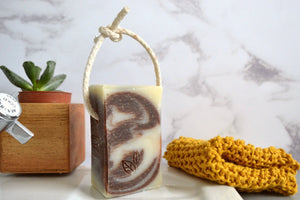 frankincense handmade vegan natural soap on a rope