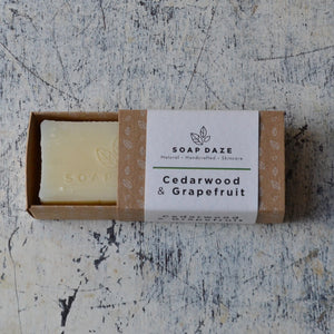 Natural deodorant and vegan soap zero waste gift set cedarwood and grapefruit