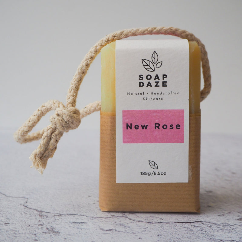New Rose handmade vegan natural  soap on a rope