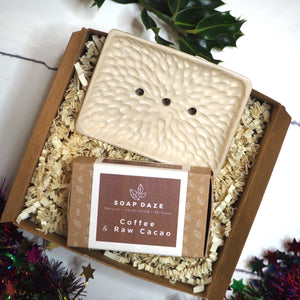 Soap and Ceramic Soap Dish Christmas Gift Set