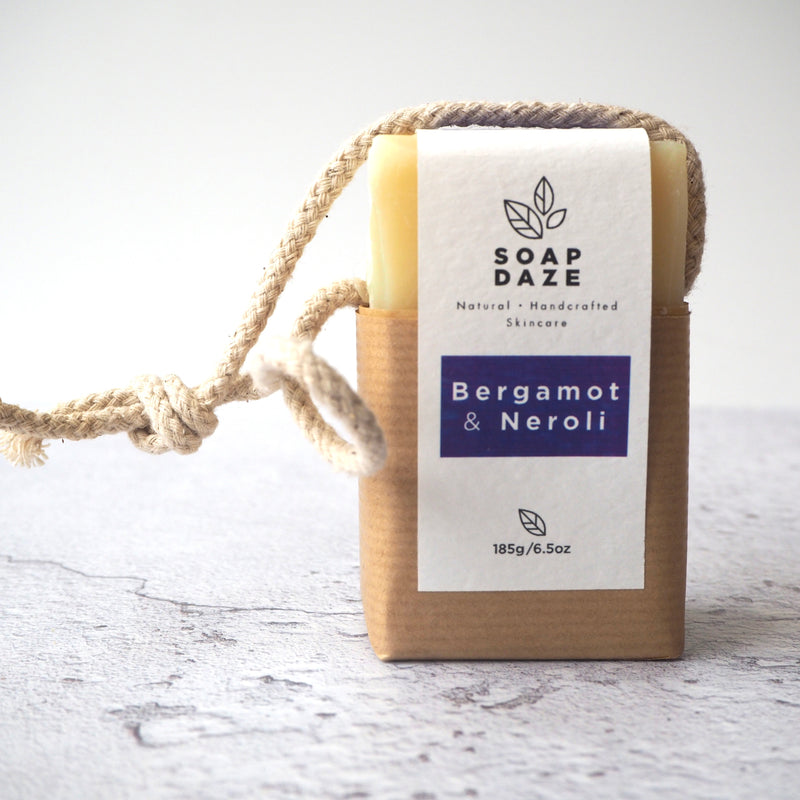 handmade vegan natural soap on a rope