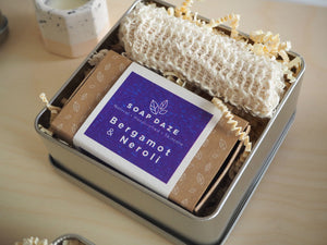 Boxed Vegan Soap and Sisal Soap Bag Gift Set
