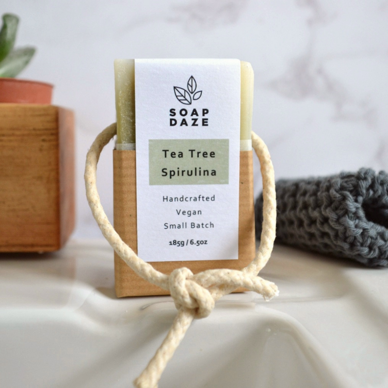 Lemongrass and patchouli handmade vegan natural soap on a rope