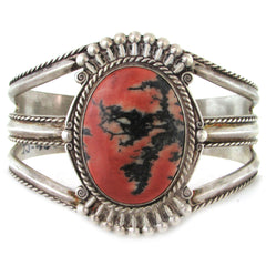 1930-40s Fred Harvey Nickel Silver Cuff w/ Agate