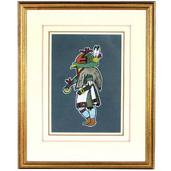 1930s Hopi Owl Kachina Dancer Original Watercolor