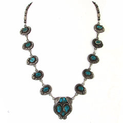 1930s Ingot Coin Silver Necklace w/ Battle Mountain Turquoise