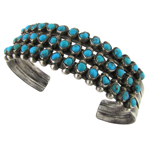 1950s Zuni Handmade Sterling & Turquoise Row Cuff
