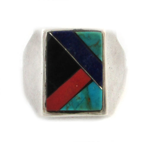 1970s Mens Sterling Silver Ring w/ Geometric Inlay, Size 12