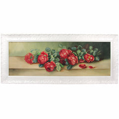 1930s Red Roses Watercolor in Ornate Glossy White Frame