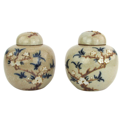 Beige Crackle Glaze Chinese Ginger Jars, Pair