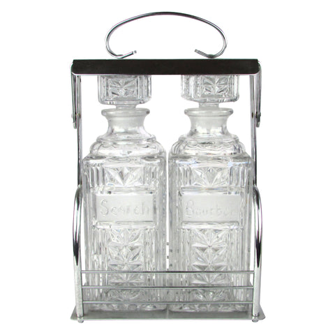Scotch & Burbon Pressed Glass Decanters w/ Chrome Caddy