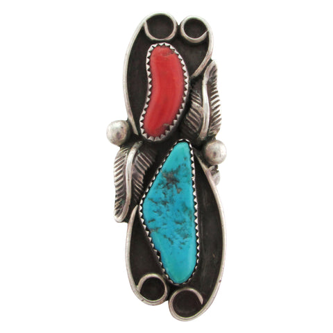 "1960s Navajo Statement Ring Coral & Turquoise, 2.5"" Long Size 8.75"