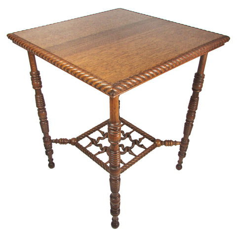 Antique Tiger Oak Fancy Carved Side Table