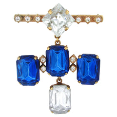 Henry Perichon Paris French Faux-Sapphire Brooch